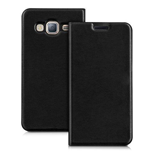kwmobile Funda para Samsung Galaxy J3 (2016) DUOS - Carcasa con tapa tipo libro para móvil - Case protector en negro