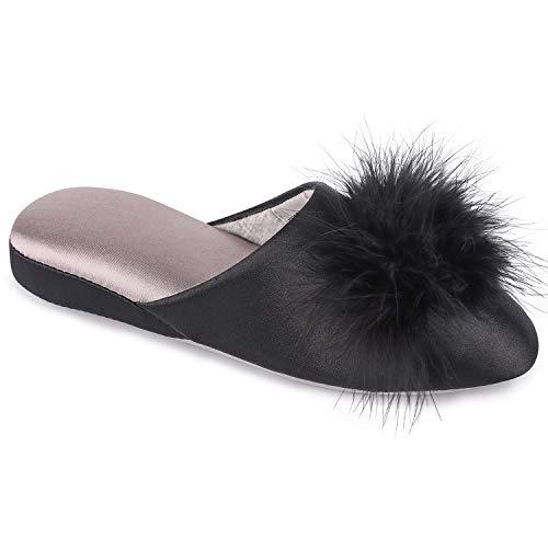EverFoams Women's Satin Memory Foam Mule Slippers with Fluffy Pom Pom (Size 7-8 M, Black)