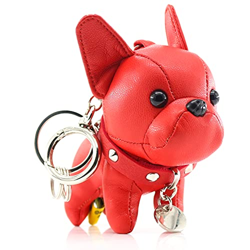 French Bulldog Keychains for Women, SALTY FISH Cute Leather Dog Car Key Chain Bag Charm, Gifts for Women Kids Girls Dog lover (Red)