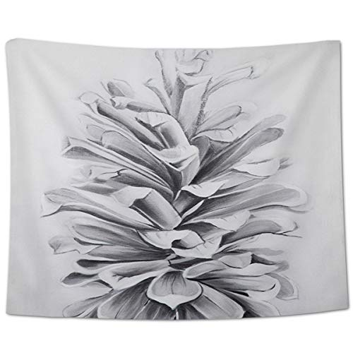 Yo Chairon Wall Hanging Throw Tapestry, Contemporary Plant Pinecone Fall Home Tapestries for Office Kitchen Bedroom Dorm Living Room Decor White Gray Pine Cone Tree 100x150cm