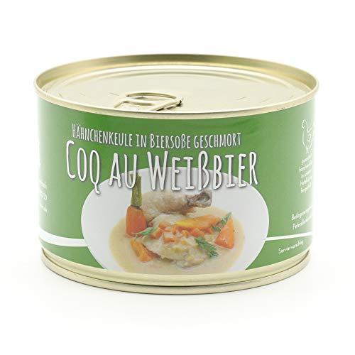 Coq au Weißbier – Hähnchenkeule in Bier Soße geschmort – – (Keule mit Knochen) 400g - Diem - Konserve - Feinkost