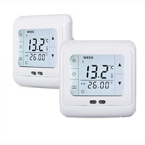 2 Stück Digital Thermostat Raumthermostat Fußbodenheizung Wandheizung LED weiß 16A…
