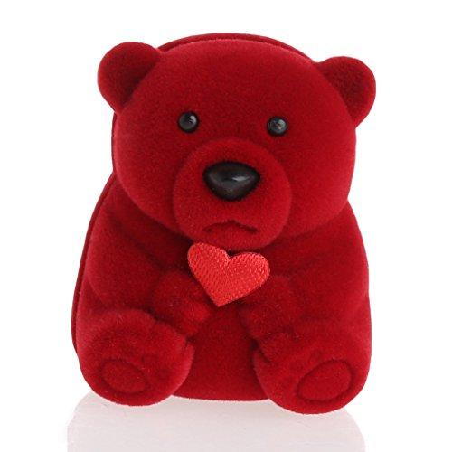 bobeini Mini Oso Lindo Joyas Cajas de Regalo para Anillos y Pendientes Pequeños Collar Colgante Rojo