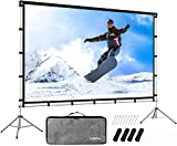KSAN Outdoor Projector Screen with Stand, Portable Outdoor Movie Screen 120 Inch (16:9), Portable with Full-Set Bag for Home Theatre Camping and Recreational Events