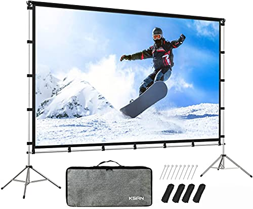 KSAN Outdoor Projector Screen with Stand, Portable Outdoor Movie Screen 120 Inch (16:9), Portable...