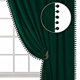 ZHAOFENG Pom Pom Velvet Curtains with Rod Pocket and Back Tab, Blackout SoftLuxury ThickSunlight Dimming Heat InsulatedPrivacy Protect for Living Room, 2 Panels ( Emerald Green, W42 x L95 Inch )
