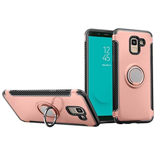Funda para Samsung SM-J600FN Galaxy J6 2018 / SM-J600FZ SM-J600L SM-J600N SM-J600F/DS / SM-J600G/DS Galaxy On6 2018 Funda Carcasa Case Funda + 360 grados Anillo giratorio de metal magnetico Pink