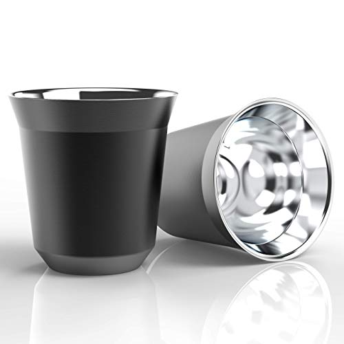 2 pcs of stainless steel espresso cups - 80ml espresso cup set - Heat Resistant espresso glasses - Easy to clean Insulated espresso mug (Black)