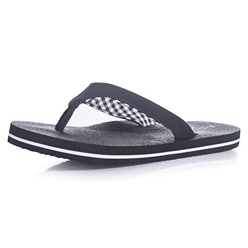 FITORY Damen Flip Flops Sommer Flach Zehentrenner Sandalen mit Weiches Yoga Fußbett Gr.37-42