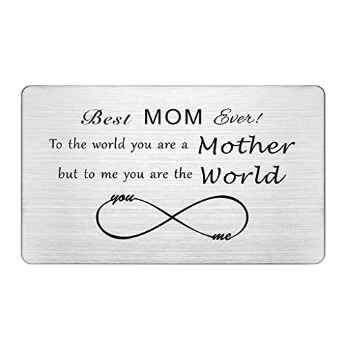 Mom Gifts from Daughter Son, Wallet Card Insert for Mom, Best Mom Ever, Mothers Day Gifts Card for Mom, I Love You Mom, Birthday Gifts, Christmas