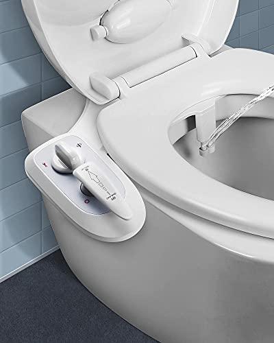 Accessorio Bidet WC non elettrico, doppio ugello acqua fredda/calda & pressione dell'acqua regolabile, ugello autopulente, scarico delicato, facile da installare per uso domestico