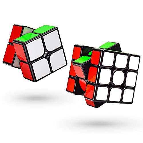 TOYESS Speed Cube Set Cubo de Velocidad 3x3 Stickerless+Cubo Mágico 2x2, Rompecabezas Puzzle Juguetes para Adulto & Niños(2 Pack)