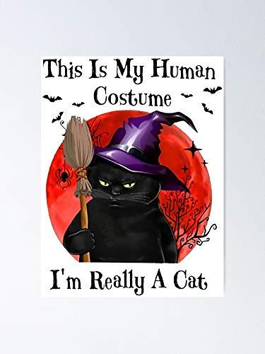 AZSTEEL Disfraz de gato negro con texto en inglés 'I'm Really A Cat Funny Gift For Lover'
