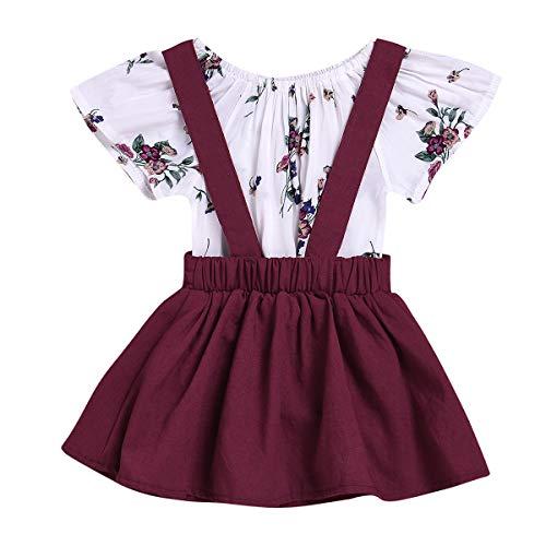 Baby Mädchen Sommer Outfit Kleinkinder Kurzarm Blumen Drucken Strampler Body Shirt + Tutu...