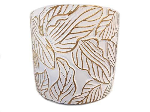 Der Perlenspieler® - Kerzenschmelzer- Tischlicht-Weiss/Gold mit Struktur-10 cm x 10 cm