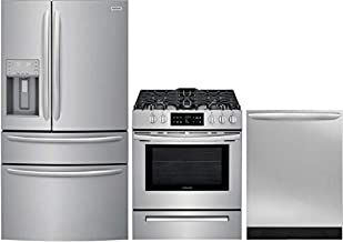 Frigidaire 3 Piece Kitchen Appliance Package with FG4H2272UF 36 French Door Refrigerator FFGH3054US 30 Slide-in Gas Range and FGID2466QF 24 Built In Fully Integrated Dishwasher in Stainless Steel