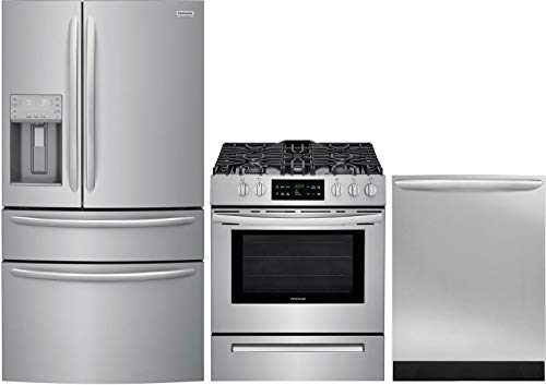 "Frigidaire 3 Piece Kitchen Appliance Package with FG4H2272UF 36"" French Door Refrigerator FFGH3054US 30"" Slide-in Gas Range and FGID2466QF 24"" Built In Fully Integrated Dishwasher in Stainless Steel"