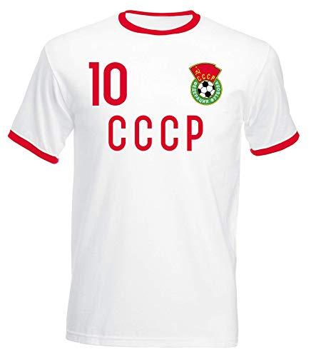 aprom CCCP UDSSR No. 10 - Camiseta de manga corta, diseño retro del mundial de fútbol Blanco XL