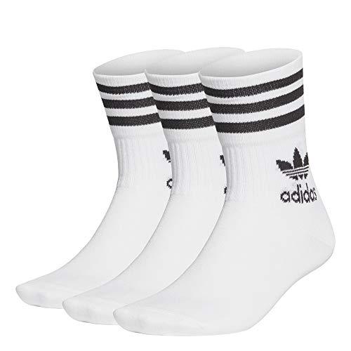 adidas Herren Mid-Cut Crew Socken, 3 Paar, White/Black, L