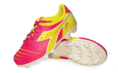 Diadora Kid's Cattura MD JR Soccer Cleats (8 Toddler, Neon Pink/Neon Yellow/White)