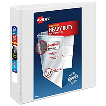 Avery 2  Heavy Duty View 3 Ring Binder One Touch EZD Ring Holds 8.5  x 11  Paper 1 White Binder  79192