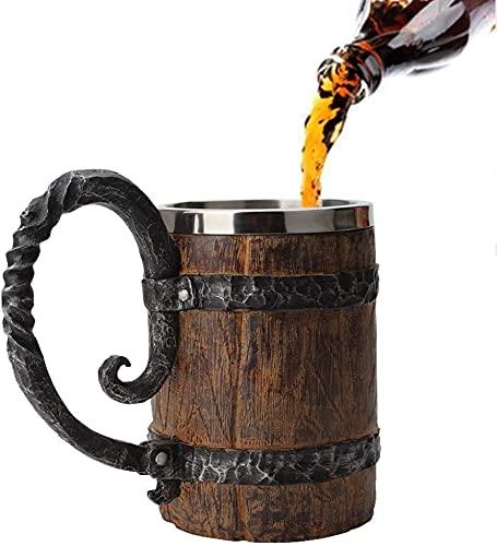 ZCX Taza de Cerveza de Madera Taza de Cerveza Estilo Vintage Taza de Acero Inoxidable de Madera marrón con Mango Taza de Barril de Madera para Hombres Capacidad 550 ml Vasos de Cerveza
