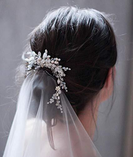 Unicra - Pettine per capelli da sposa, con strass, colore: argento