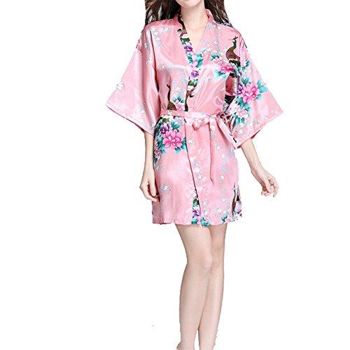 VILLAVIVI Vestido Párrafo Corto Mujer Kimono Pavo Flores Satén Albornoces Pijamas (S, Rosado)