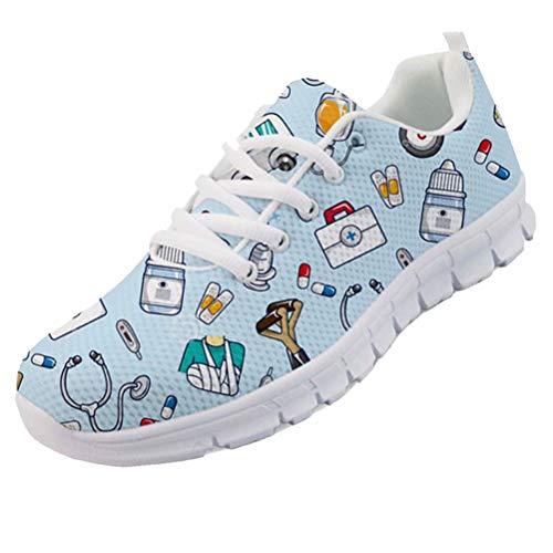 chaqlin Krankenschwester Flache Schuhe Damen Mädchen niedlichen Cartoon Krankenschwestern gedruckt Damen Turnschuhe Schuhe atmungsaktiv Mesh Wohnungen Laufschuhe blau Größe EU38