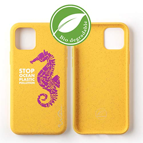 Custodia per Telefono Wilma Biodegradabile Ecologica Compatibile con iPhone 11 PRO, Ferma l'Inquinamento degli Oceani dalla Plastica, Atossica, Completamente Protettiva - Cavalluccio Marino