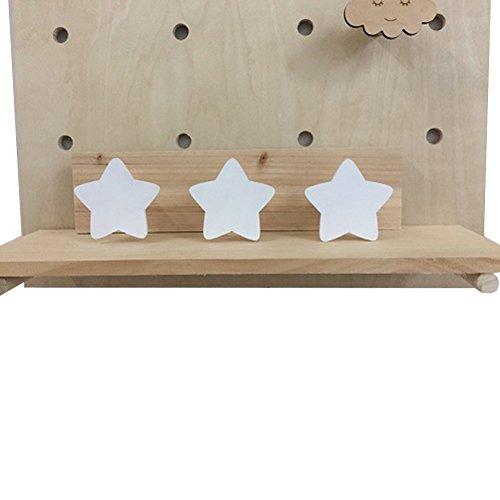 talla /única 1# madera 3 ganchos Steellwingsf Colgador de madera para pared con dise/ño de estrella de conejo