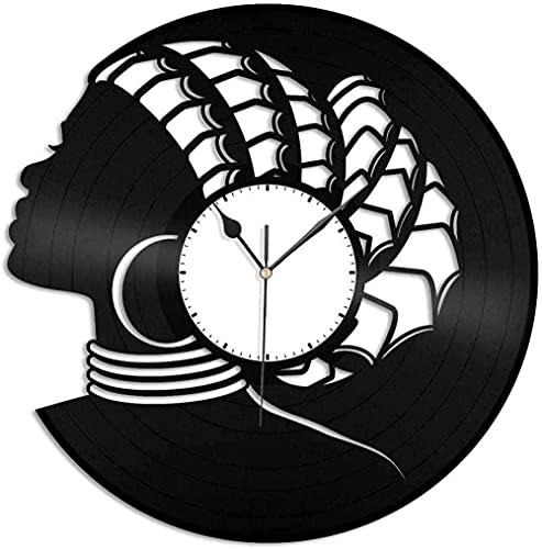 ZZLLL Reloj de Pared de Vinilo Reloj de Disco de Vinilo de 12 Pulgadas Reloj de decoración Retro Creativo para Mujer Africana