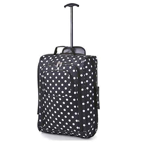 21'/55cm 5 Cities Black Carry On Lightweight Cabin Approved Trolley Bag Hand Luggage (Black Polka)