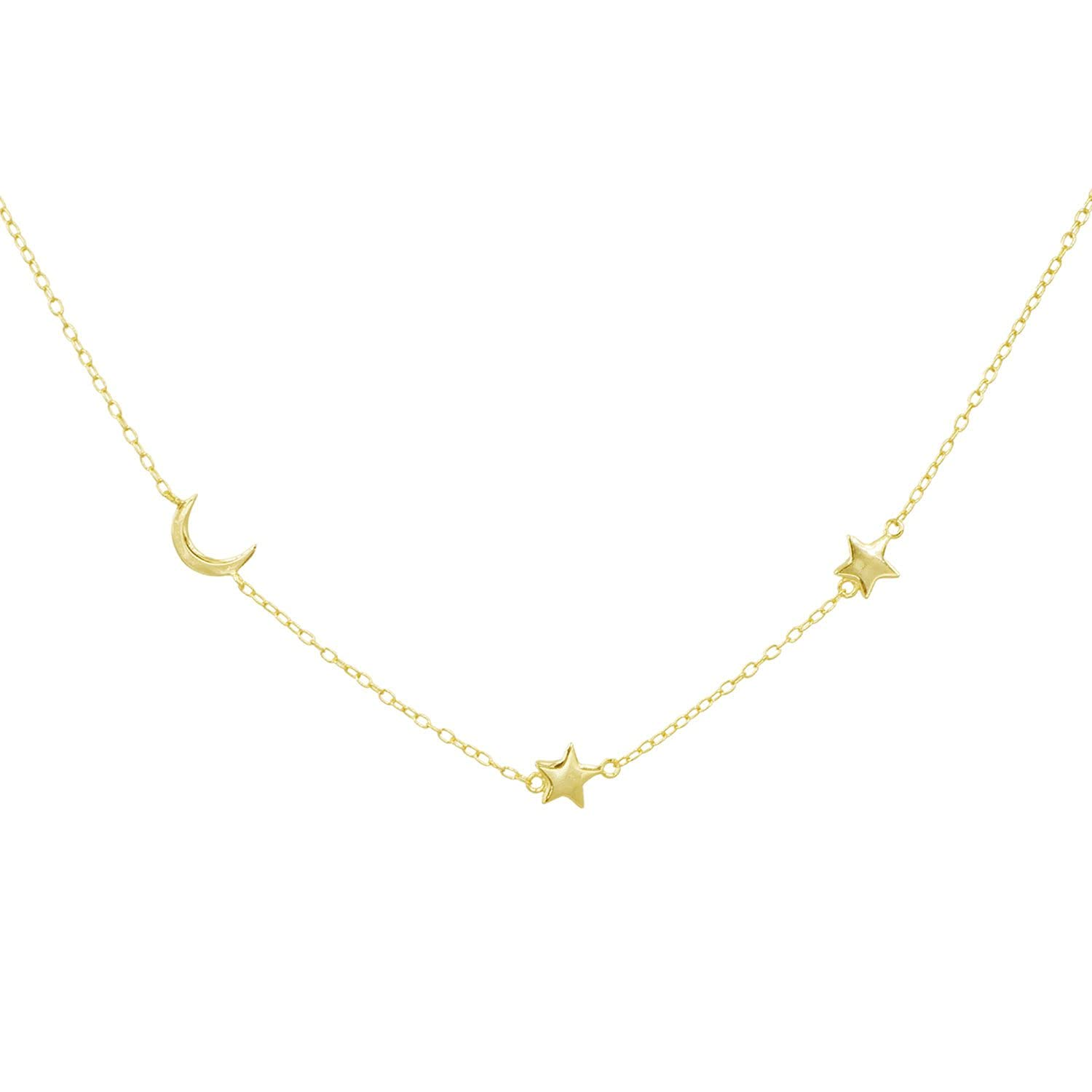 Amanda Deer Max 85% OFF Moon Colorado Springs Mall and Star Necklace 14kt plus Plated Gold E 16