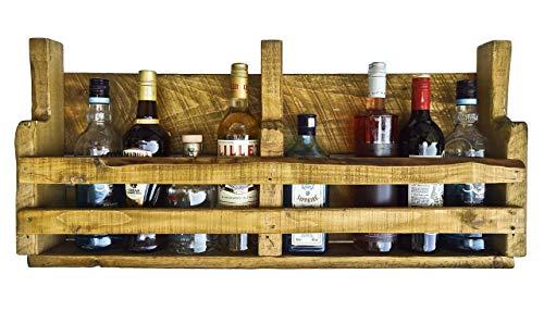 Upcycling Handmade Palettenregal (HxB : 8o x 39 cm) farbe eiche rustikal wahlweise mit 1 oder 2 Streben für 8 Flaschen im shabby chic used Look aus Echtholz ideal als Weinregal oder Wandbar