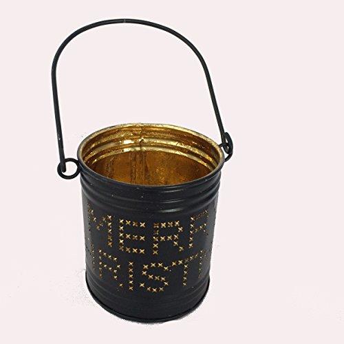 Teelichthalter Windlicht aus Metall Sphärenlicht Landhausstil Kerzenhalter (Schwarz/Gold 7.5 x 9 cm)