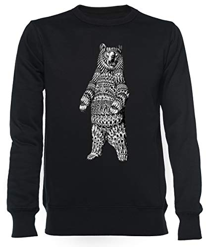Overladen Grizzly Beer Unisex Mannen Dames Trui Zwart Unisex Men's Women's Jumper Black