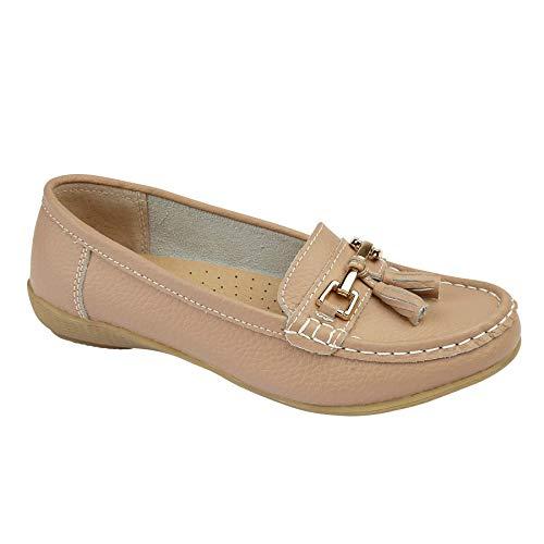 Damen Lederschuhe Quasten Loafer Plimsole Pumps Damen flach Boot Mokassin Hausschuhe, Beige - mokka - Größe: 38 EU