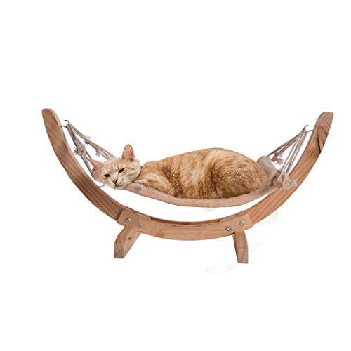 Cat Bed, NXKang Wood Cat Hammock Soft Plush Cat Bed Small Dog Beds Attractive And Sturdy Perch Pet Sleeping Furniture for Rabbit Cat Kitten Puppy Indoor/Outdoor Sunshine - US Stock