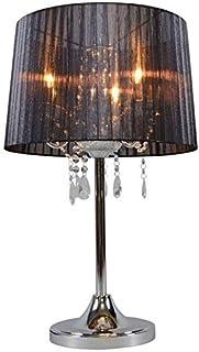 QAZQA Clásico/Antiguo Lámpara de mesa clásica cromada pantalla negra - ANN-KATHRIN 3 Vidrio/Metálica/Textil Redonda Adecuado para LED Max. 3 x 60 Watt