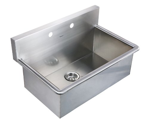 Whitehaus WHNC3120-BSS Noah'S Collection 31-Inch Commercial Drop-In Laundry-Scrub Sink, Brushed Stainless Steel