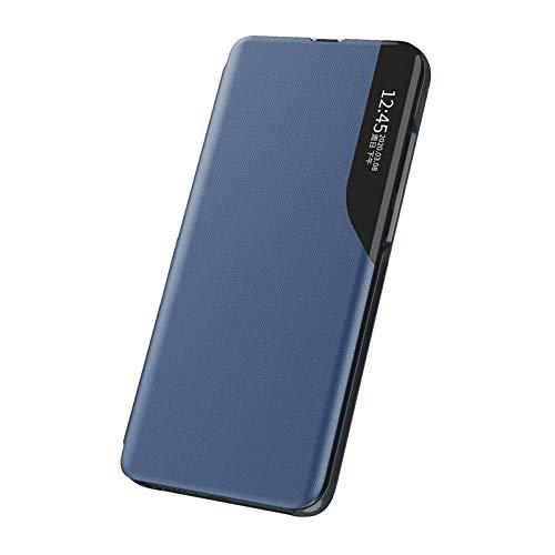 LEYAN Hülle für Samsung Galaxy A32 5G, Premium PC/PU Leder Schutzhülle, Spiegel Cover Clear View Case Flip Intelligenten Handyhülle etui Huelle mit Klappbarer Ständer, Blau
