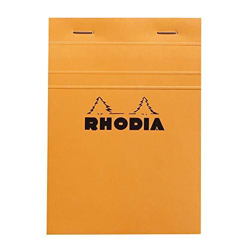 Rhodia 13200C - bloc agrafé en-tête de 80 feuillets détachables 10,5x14,8 cm 80g petits carreaux, couverture Orange