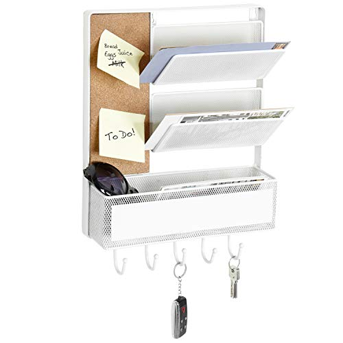 MyGift Mesh Metal Wall Mounted Organizer with Cork Board & 5 Key Hooks, White