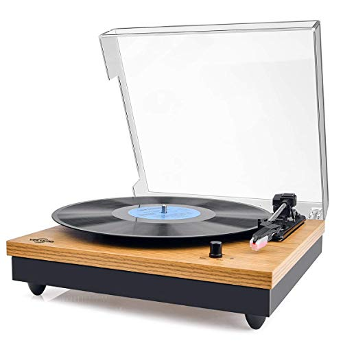 Plattenspieler,VIFLYKOO Bluetooth Schallplattenspieler Vinyl Plattenspieler Turntable und Digital Encoder mit 3-Gang 33/45/78 U/min Eingebauter 2 Stereo Lautsprecher Aux-In RCA - Naturholz