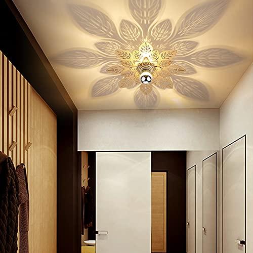 JHTdeng Plafones para Techo Lámpara De Techo Simple Y Moderna Lámpara De Pasillo Lámpara De Porche Lámpara De Pasillo, Balcón Creativo Árbol Hoja Sombra Luces De Techo para Dormitorios (Color : Gold)