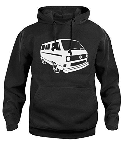 Herren Damen Kapuzenpullover VW T25 Campervan Camper Retro Van Hoody Sweatshirt Neu XS-XXL Gr. XX-Large, Schwarz