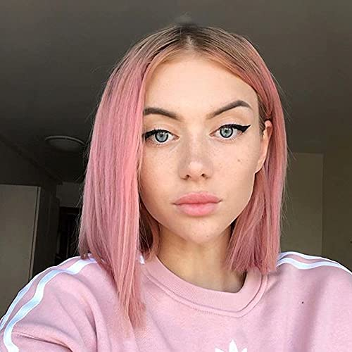 Summer Ombre Pink Lace Front Wigs for Women Short Bob Synthetic Wig Heat Resistant Pink Wig with Middle Parting Light Roots (12 Inch 4/Pink)