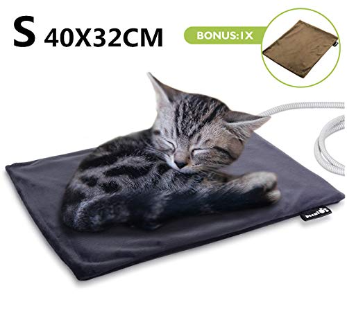 Pecute Coussin Chauffant Chien Chat Tapis Chauffant Chien Domestique Electrique Tapis Chauffant pour Animal (S 40 * 32cm)