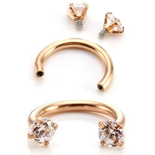 JSDDE 2pcs 16G Stainless Steel Cubic Zirconia Nose Ring Horseshoe Hoop Circular Barbell Septum Lip Piercing Cartilage Earrings 8mm Rose Gold